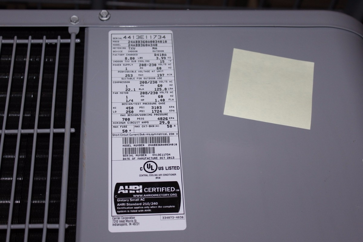 serial number on air conditioner